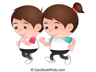 bubble head boy and girl cartoon jogging run isolated white background