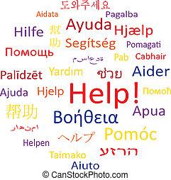 bubble:, help., étiquette, parole, ou, nuage