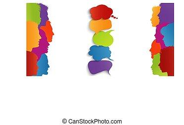 bubble., informar, thoughts., social, comunicación, personas...