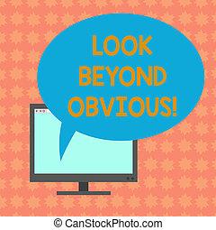 bubble., kleurenfoto, zien, computer, leeg, ovaal, achter, onderwerp, monitor, deeply, schrijvende , aantekening, vragen, toespraak, het tonen, meer, zakelijk, scherm, gemonteerd, blik, van belang zijn, showcasing, obvious., of