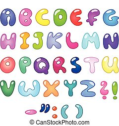 Colorful bubble-shaped letters set