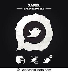 bubble., média, icons., parole, social, oiseaux