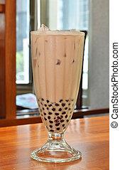 Bubble milk tea - Delicious pearl milk tea closeup