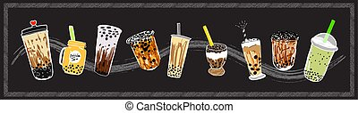 Bubble milk tea design collection. Coffees with doodle style banner.
