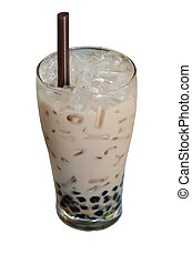 milk tea - bubble milk tea ( Glass of milk tea with tapioca...