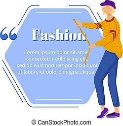 bubble., moda, quote., citación, plano, discurso, diseño, texto, color, template., marco vacío, tailoring., females., diseñador, alta costura, atelier., exitoso, carácter, individuo, blanco, vector, caja, cita