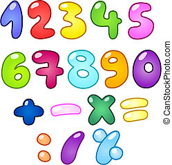 Bubble numbers - Colorful bubble-shaped numbers set
