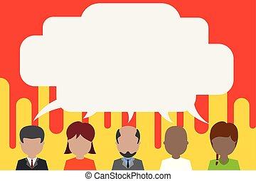 bubble., otro., niño, pelo, niña, diferente, mujeres, largo, discurso, hombre, barbudo, compartir, calvo, personas, cinco, cortocircuito, hombres, conversación, carrera, cada, mujer, teniendo