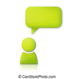 bubble., personne, vecteur, parole, vert, icône