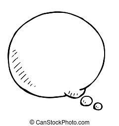 bubble., scarabocchiare, mano, vettore, discorso, illustartion, disegnato