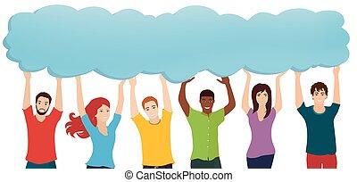 bubble., segurando, pessoas, thoughts., social, comunicação...