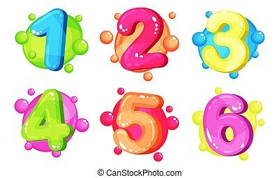 bubble-shaped, colorito, numeri, collezione, cartone animato, spesso