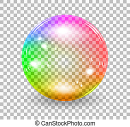 Transparent soap bubble. realistic illustration on checkered background