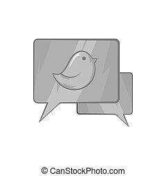 Bubble speech icon, black monochrome style