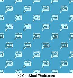 Bubble speech sale black friday pattern vector seamless blue