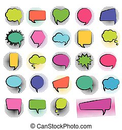 Bubble speech set in pop art style and halftone dots background. Vector illustration.