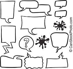 bubble speech set of doodles
