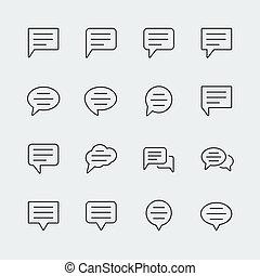 Bubble speech vector icons set, thin line