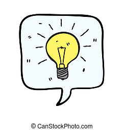 bubble speech with light bulb