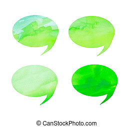 bubble talk tag watercolor on white background