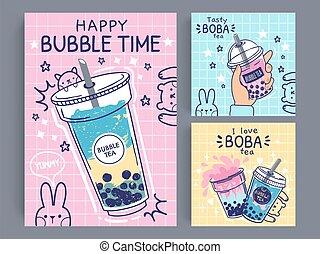 Bubble tea banner. Famous drink asian bubble tea, taiwanese ...
