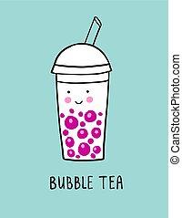Bubble tea cartoon vector illustration in doodle style