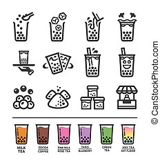 bubble tea icon set