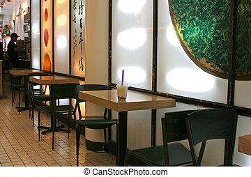 Bubble Tea on Cafe Table in Chinatown