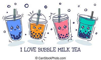 Bubble tea. Plastic cup with cute emotions smile characters ...