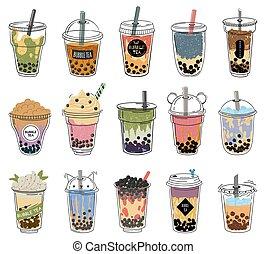 Bubble tea. Popular taiwanese pearl milk tea with balls, ...