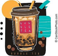 Bubble tea. Popular taiwanese sweet drink bubble tea, pearl ...