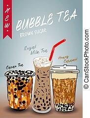 Bubble tea poster. Restaurant cafe menu, template design.