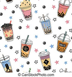 Bubble tea seamless pattern. Popular asian cold drink, pearl...
