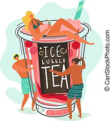 Bubble tea. Small people characters and bubble milk tea cup...