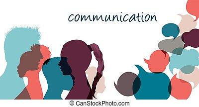 bubble., text., beszéd, arcél, társadalmi, gazdag koncentrátum, emberek, részesedés feljelentés, közöl, gondolat, beszél, networks.community., árnykép, communicating.communication, multiethnic, beszéd