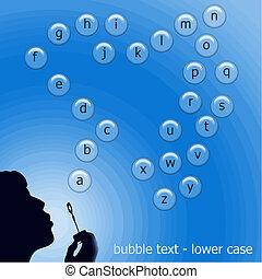 bubble text vector - lower case