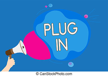 bubble., texto, él, señal, altavoz, colorido, electricidad, de conexión, tenencia, foto, conceptual, discurso, megáfono, potencia, actuación, en., poniendo, dispositivo, estridente, hombre, enchufe, vuelta, charla