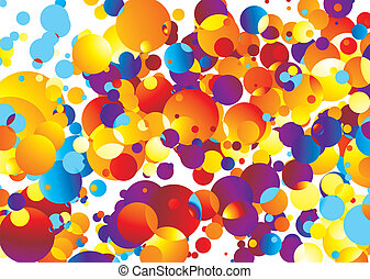 Illustrated Brightly colored abstract background with many bubbles