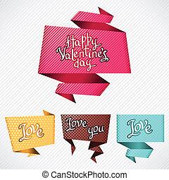 bubble., valentine, tło., wektor, mowa, origami, dzień