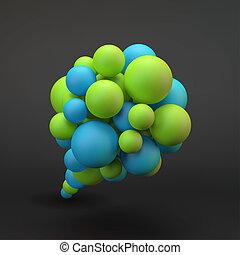 bubble., vecteur, parole, illustration., 3d
