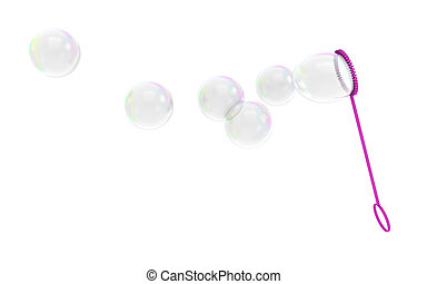 Bubble wand childrens toy blowing soapy bubbles into the...