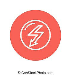 Bubble with lightning arrow thin line icon