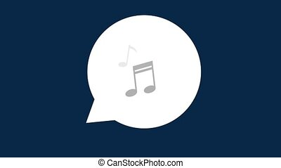 Bubble with musical notes HD animation