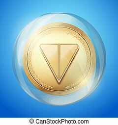 Golden crypto coin with Ton sign in bubble. Concept of Telegram blockchain symbol. Vector Illustration isolated on white background.