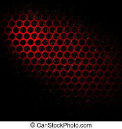 Bubble wrap lit by red light