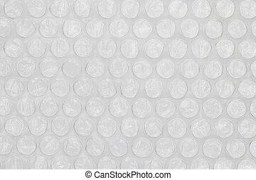 Plastic bubble wrap texture background, close up.