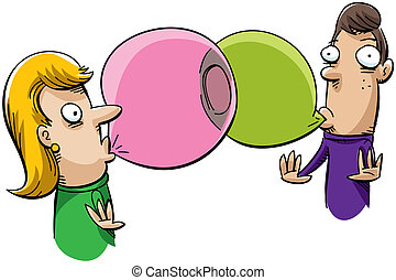 Bubblegum Connection - A cartoon woman and man find that...