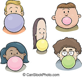 Bubblegum Faces - A set of cartoon faces of people blowing...