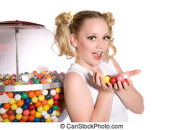 Bubblegum girl - Cute young girl holding a bunch of chewing...