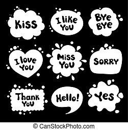 bubbles., スタイル, セット, スピーチ, 漫画
